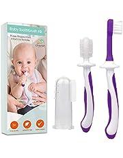 Babytandenborstel 0-2 jaar - 3-delige tandenborstelset met babyvingertandenborstels en kauwbare tandenborstel voor babytandjes