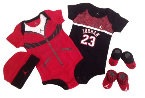 Nike Jordan Baby 0-6 Months Lap/Shoulder Bodysuits,Booties and Cap With