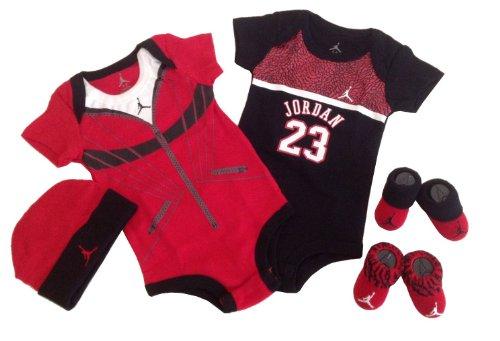 "Nike Jordan Baby 0-6 Months Lap/Shoulder Bodysuits,Booties and Cap With ""FLY SINCE 1985"" & Jordan Logo 3 PCS Set"