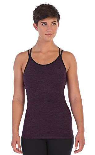 American Fitness Couture Womens Strappy Lattice Back Workout Top Built in Sports Bra, Heather Violet Lg by American Fitness Couture (Image #1)
