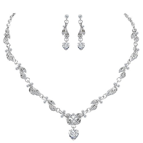 LILIE&WHITE Bridal Necklace Earrings Fashion Jewelry Set for Women Brides Bridesmaids in Heart Shape Pendant Cubic Zircon Jewelry CZ ()