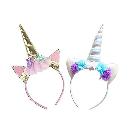 Cute Unicorn Horn Headband,Shiny Unicorn Horn Glitter Elastic Hair Hoop Spiral Unicorn Horn Cosplay -