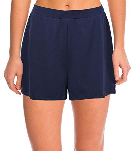 Blue Waistband - Septangle Women's Solid Color Waistband Tankini Boyleg Swimsuit Bottom Boardshorts with Briefs ... (US 16, Navy Blue)