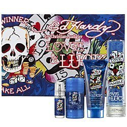 Ed Hardy Love & Luck Cologne Gift Set for Men 3.4 oz Eau De Toilette Spray by Ed Hardy