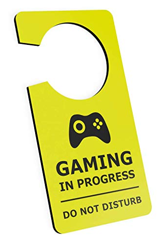 Boy Door Hanger - Gaming in Progress Do Not Disturb Room Door Hanger Sign Yellow Acrylic for Boys, Girls, Bedrooms, Computer Games, Console, Gamer