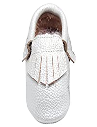 HappyCherry 8 Colors Genuine Leather Infant Baby Toddlers Moccasins Soft Sole Anti-Slip Tassels Prewalker Shoes