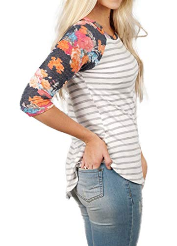 088c8c02cee ANDUUNI Womens Striped Crew Neck 3 4 Sleeve Baseball T Shirts Casual Color  Block Raglan Blouses