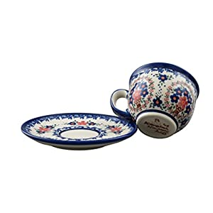 Boleslawiec Style Pottery Hand Painted Polish Ceramic Vika Cup with a saucer 033-A-063