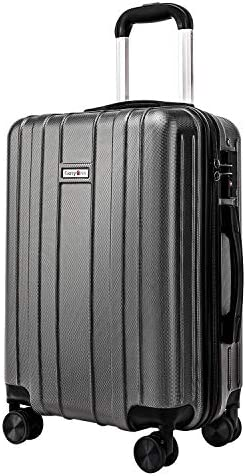 CarryOne 20in Carry on Luggage Suitcase, Built-in TSA Lock, Spinner Wheels, Side Handle, Grey