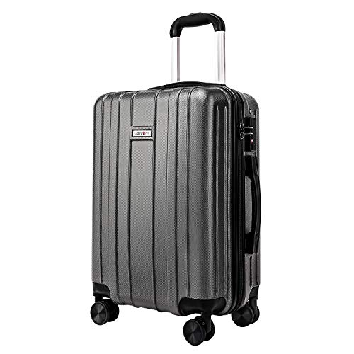 CarryOne Luggage 20in Carry on Luggage Travel Suitcase Built-in TSA Lock 8 Silent Spinner Wheels Side Handle, Gray
