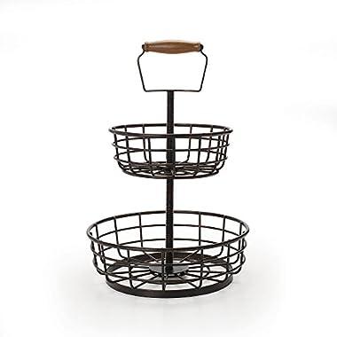 Gourmet Basics by Mikasa Adjustable 2-Tier Metal Basket, Antique Black