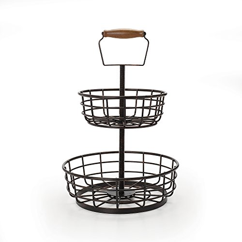 Gourmet Basics by Mikasa Adjustable 2-Tier Metal Basket, Antique Black