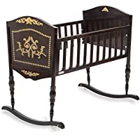 Green Frog, Old World Baby Cradle | Handcrafted Elegant Wood Baby Cradle | Premium Pine Construction | Rocking and Stationary Features