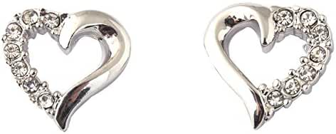 Acefeel Silver-tone Graceful Set with Clear Crystal Openwork Design Heart Shaped Earring for Women's Gift