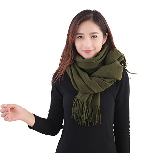 YCHY Large Extra Soft Cashmere Blend Women Pashmina Shawl Wrap Stole Scarf (Army green)