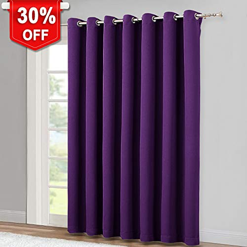 (NICETOWN Insulated Sliding Door Curtain - Wide Thermal Blackout Patio Door Curtain Panel, Sliding Door Drapes/Draperies with Grommet Top (Royal Purple, W100 x L84))