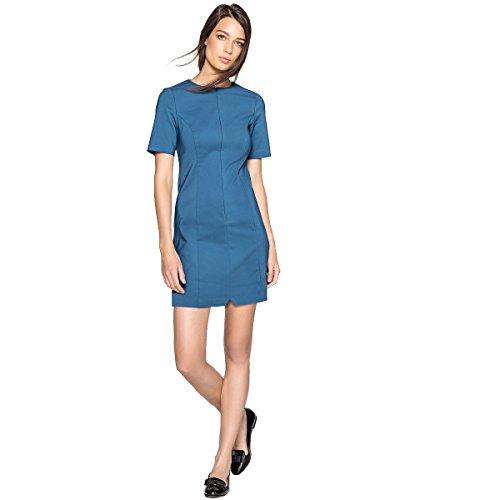 Blu La Unifarbenes Collections Vorne Frau Reissverschluss Kleid Ardesia Redoute vp4qR