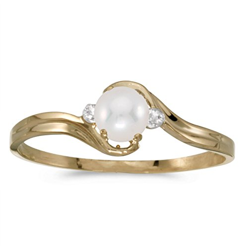 0.01 Carat (ctw) 10k Yellow Gold Round Freshwater-Cultured Pearl and Diamond Accent Bypass Swirl Fashion Promise Ring (4 MM) - Size (Gold Diamond Swirl)