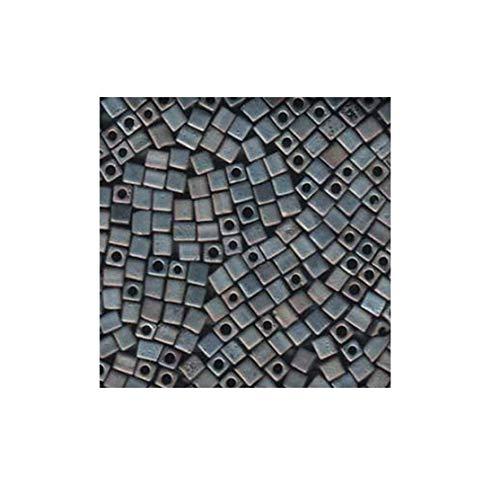 20 Grams Silver Grey Matte Metallic Miyuki 4mm Square Cube Japanese Glass Seed - Glass Square Beads Miyuki