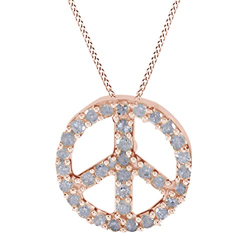AFFY Round Cut White Natural Diamond Accents Peace Sign Pendant Necklace in 14k Rose Gold (0.09 Cttw)