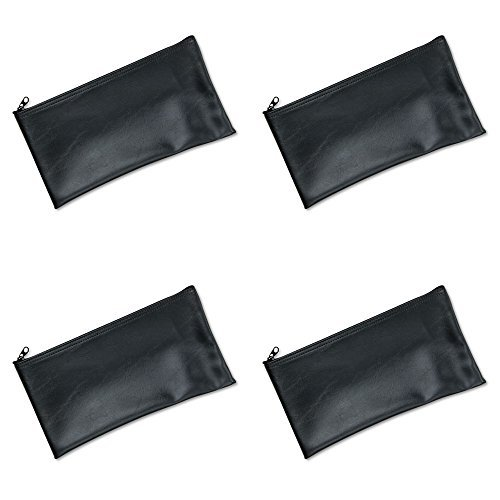 Leatherette Zipper Wallet - MMF Industries Leatherette Zipper Wallet, 11 x 6 Inches, Black (2340416W04), 4 Packs