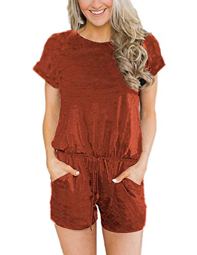 ANRABESS Women's Summer Short Sleeve Striped Jumpsuit Rompers with Pockets Short Pant Rompers Playsuit Solid XiuHong-XL BYF-33 Rust (Shorts Striped Brown)