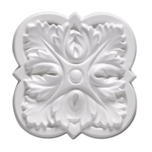 Focal Point 85314 Small Gardenia Rosette 4 1/16-Inch by 4 1/16-Inch by 5/8-Inch, Primed White