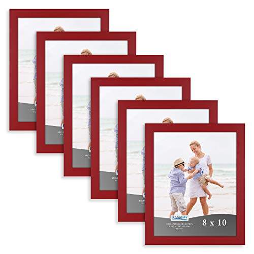 Icona Bay 8x10 Picture Frame (6 Pack, Red), Red Sturdy Wood Composite Photo Frame 8 x 10, Wall or Table Mount, Set of 6 Exclusives Collection (Photos Frames Red For)