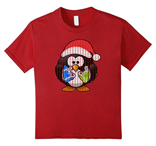 Kids UGLY CHRISTMAS SWEATER Holiday Penguin Cool T-Shirt Gift 12 (Penguin Ugly Sweater)