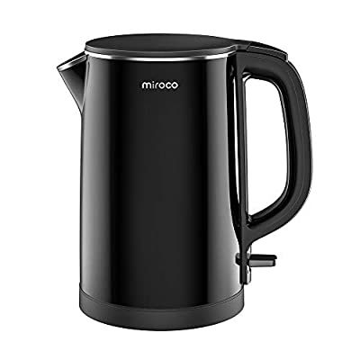 Electric Kettle, Miroco 1.5L Double Wall 100% Stainless Steel BPA-Free Cool Touch Tea Kettle with Overheating Protection, Cordless with Auto Shut-Off & Boil Dry Protection, 1500W Fast Boiling Heater