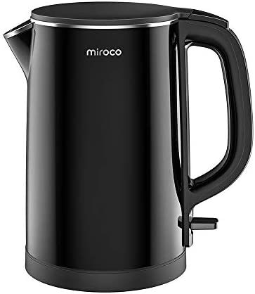 Electric Kettle, Miroco 1.5L Double Wall 100 Stainless Steel BPA-Free Cool Touch Tea Kettle with Overheating Protection, Cordless with Auto Shut-Off Boil Dry Protection, 1500W Fast Boiling Heater