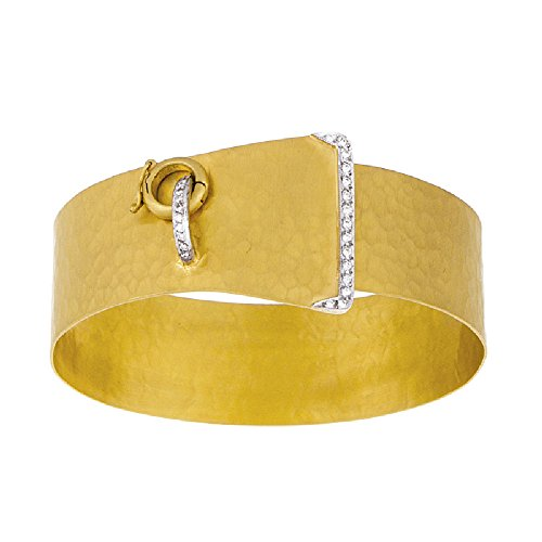 0.22 Ct Diamonds 18k Yellow Gold Hammer Finish Belt Buckle Bangle Bracelet