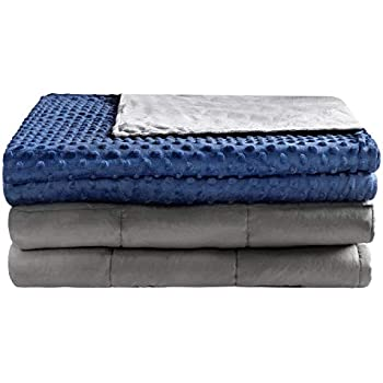 Anjee Weighted Blanket 60 x 80 Inches 15 lbs for Adult with Removable Cover & Premium Glass Beads, Grey/Navy Blue