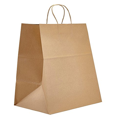 "PTP - 14"" x 9.75"" x 15.5"" Natural Kraft Paper Gift Tote Bags - 200 count