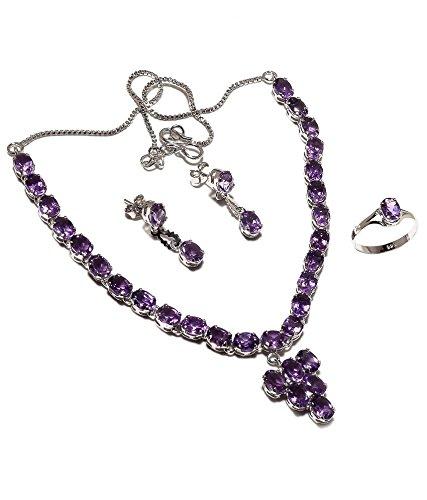 Be You plaqué violet améthyste attrayante diamant oeil rhodium argent boucle d'oreille et collier ensemble sterling pour les femmes