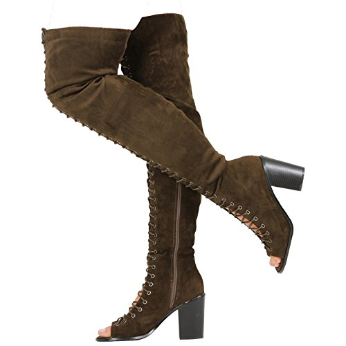 CORE COLLECTION New Womens Ladies Over The Knee Chunky HIGH Block Heel Peeptoe Boots Shoes Size Khaki Suede kciJMoi71b