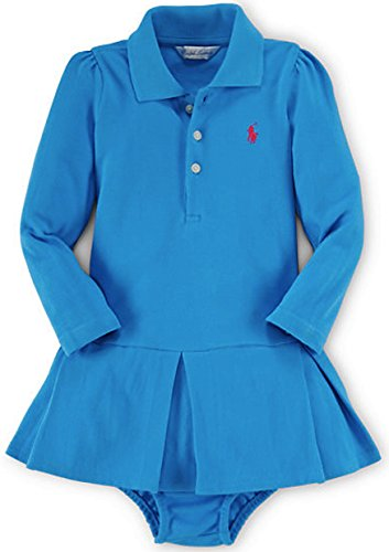 Turquoise Polo Dress - Ralph Lauren Baby Girls' Pleated Polo Dress & Bloomer (6 Months, Turquoise Pendant)