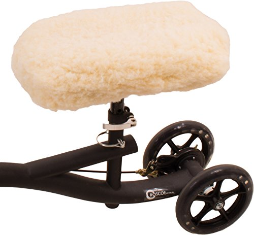 Roscoe Medical Universal Knee Scooter Pad Cover , Improved Comfort for Leg and Ankle Injury, Soft Synthetic Faux Sheepskin for most Knee Scooter Walker and Roller,  Easy to - Synthetic Sheepskin