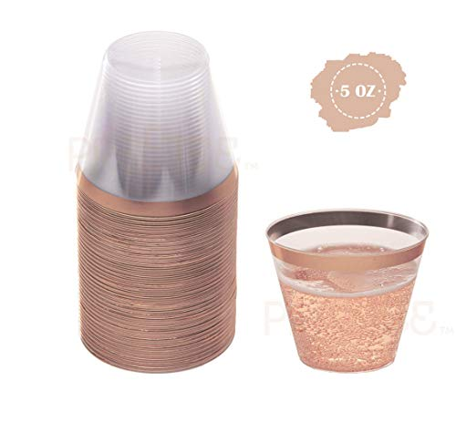 Rose Gold Plastic Cups   5 oz. 100 Pack   Hard Clear Plastic Cups   Disposable Party Cups   Fancy Wedding Tumblers   Nice Rose Gold Rim Plastic Cups   Elegant Decoration Cups   Plastic Tumblers Bulk