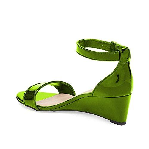 Fsj Donna Estate Open Toe Cinturino Alla Caviglia Fibbia Scarpe Comode Sandali Con Zeppa Tacco Basso Taglia 4-15 Us Verde