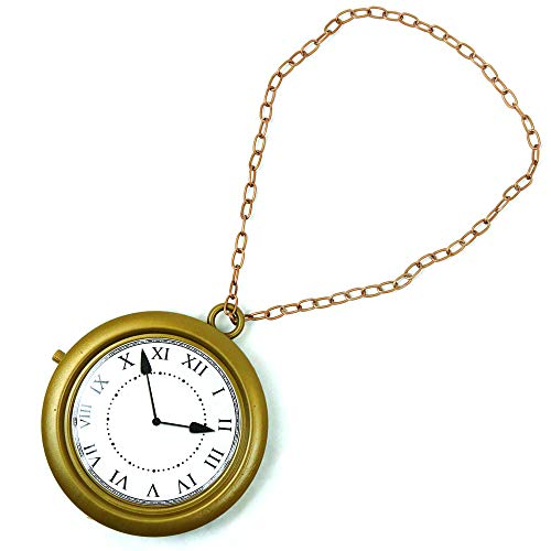 Skeleteen Jumbo Gold Clock Necklace - White Rabbit Clock, Hip Hop Rapper Clock - 1 Piece ()