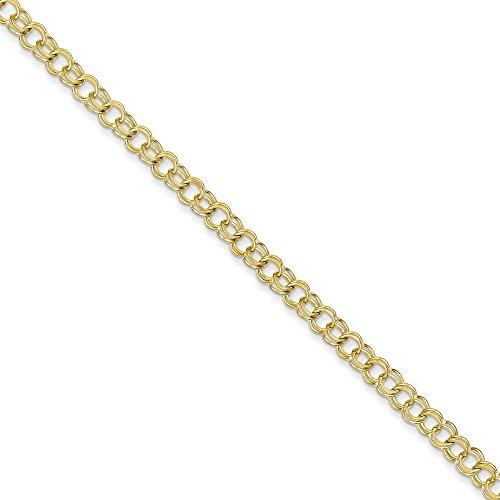 """10 k Solid Double Link-Bracelet à charms-Fermoir mousqueton 7 """"Motif supérieure Doré Grade que or 9 carats"""