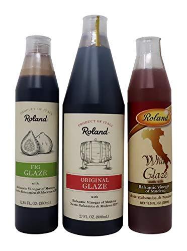 - Roland Foods Balsamic Glaze, Fig, White Glaze,Original Glaze Meat Marinade 3 Pack
