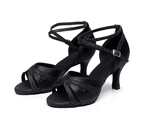 M MINITOO UK 2 Latin Black Cross Glitter Women's Satin Shoes Dance Strap vxqvwOAZ