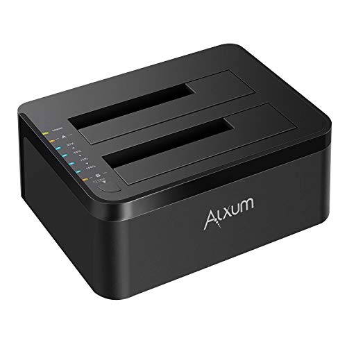 - Alxum HDD Docking Station, External USB 3.0 to SATA Hard Drive Docking Station with Offline Clone Function for 2.5 & 3.5 Inch HDD/SSD, Support 2 x 10TB & UASP, Black