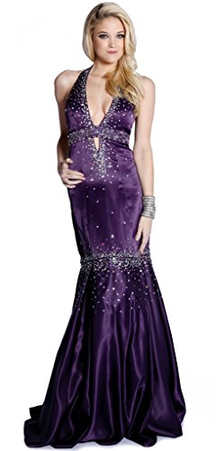 Women Fabulous Sexy Halter Beads Rhinestones Satin Prom Special Occasion Dress Plum S