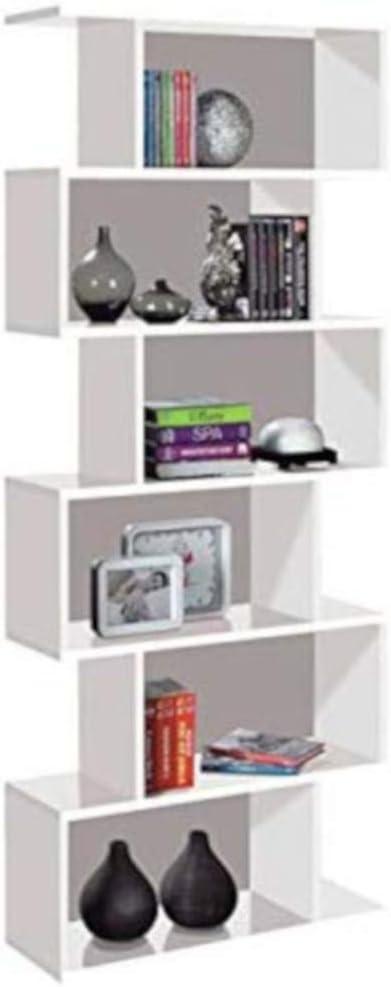 Libreria Friburgo in Legno Design Moderno Scaffale Scaffalatura Mensola Bianca Mobile per Libri con Ripiani per Soggiorno Salotto Studio Ufficio 192 x 80 x 25 cm Colore Bianco