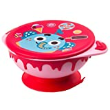 Stainless Steel Suction Baby Feeding Bowl, Fun Animal Series BPA free Stainless Tableware with Handles & Cute Lid for Babies, Toddlers and Kids 9M+ (Large, Red)