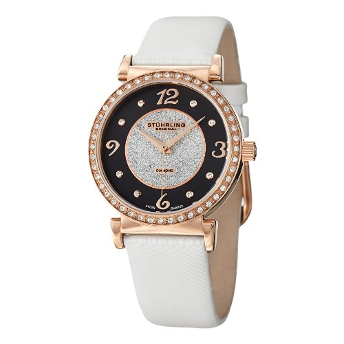 Tone Case Leather Strap (Stuhrling Original Women's 711.03 Vogue Audrey Astra Diamond Rose Tone Case with Leather Strap Watch)