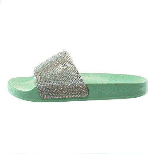 Angkorly Damen Schuhe Mule Sandalen - Slip-On - Step - Flexible - Strass - Pastell - Glänzende Flache Ferse 2 cm Wassergrün